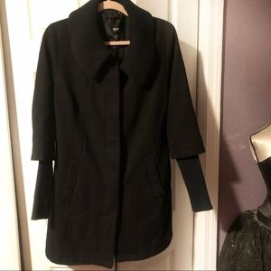 Mossimo black wool coat with sweater sleeves
